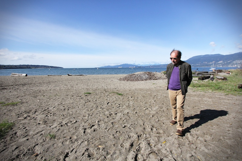 Luis Fernando Pelaez surveying a site at Vancouver's Kits Beach. The possible site of a new installation? Photo: Camila Ramos Bravo