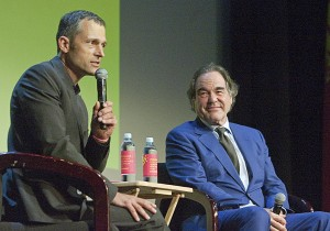 Tony Pantages opened the Q&A with Oliver Stone at the Vogue Theatre