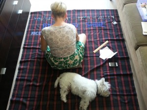 Toni Latour at work with her dog