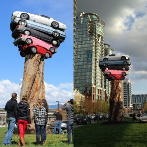 Marcus Bowcott.TRANS AM TOTEM.Vancouver.Quebec Street.diptych.April 2015.Photos by Murray Nichol