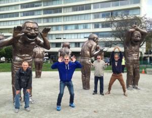 Yue Minjun. A-MAZE-ING LAUGHTER. Mike Baldwin, Murray Nichol, Robert Dexter, Barrie Mowatt. Morton Park in Vancouver. Oct.2016