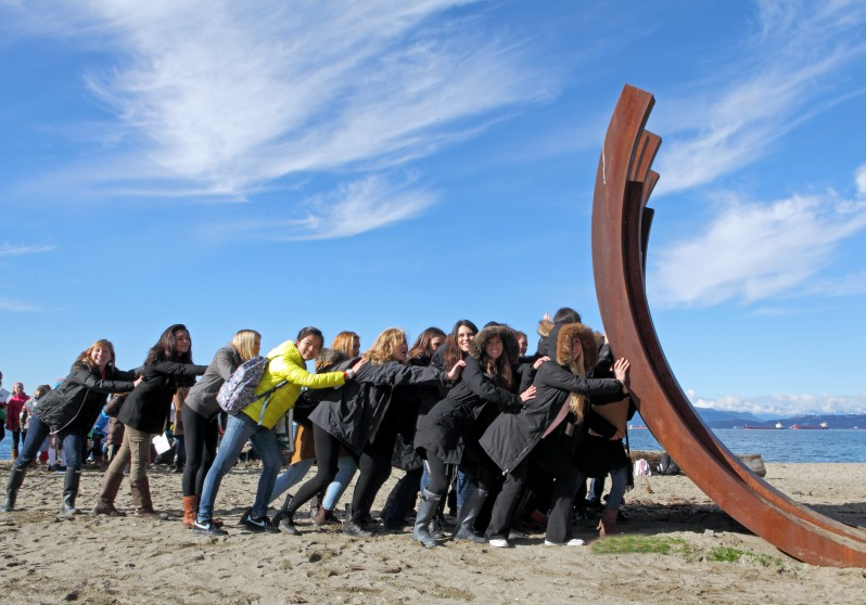 Bernar Venet. 217.5 ARC X 13 on Sunset Beach in Vancouver. BIG IDEAS education visit by Gleneagles Grade 5 class and Lions Bay Grade 3 class. Feb. 2013. Photo by Dan Fairchild Photography. 17299083044_2d15d476c7_o