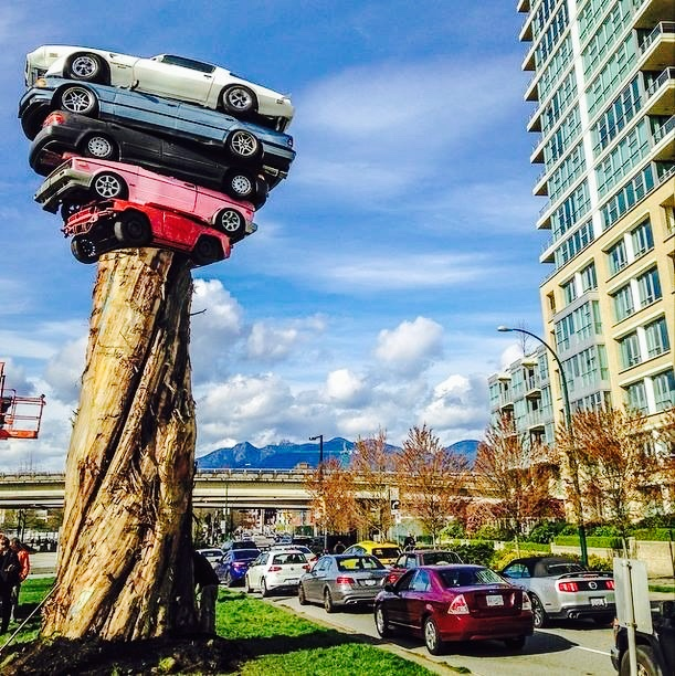Marcus Bowcott. TRANS AM TOTEM. Quebec Street and Milross Avenue in Vancouver. 2014 - 2016 exhibition. Photo by M. Nichol