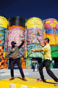 OSGEMEOS. GIANTS. Open House 2016 at Ocean Concrete worksite on Granville Island. Ammar Mahimwalla and Barrie Mowatt