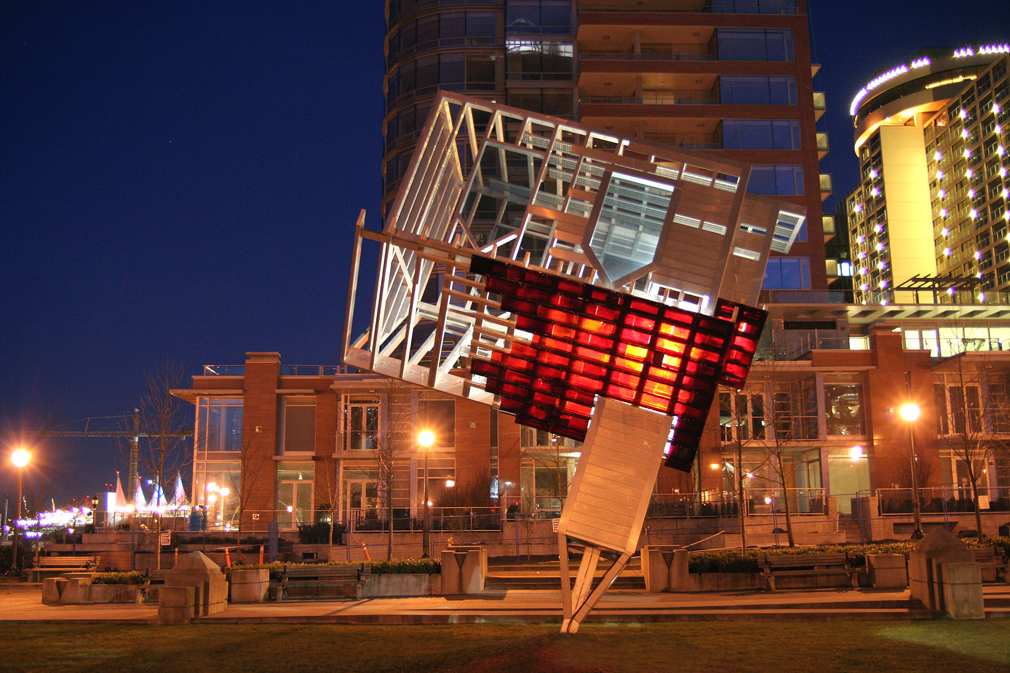 Dennis Oppenheim. DEVICE TO ROOT OUT EVIL. Harbour Green Park in Vancouver. 2005 - 2007 exhibition. Photo by Dan Fairchild Photography. 12--Art that glows